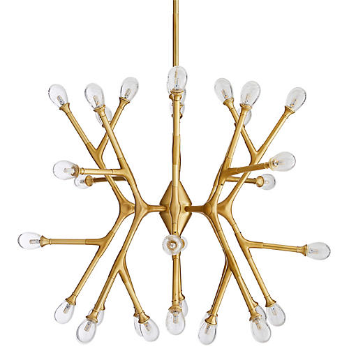 Vandike Chandelier, Antiqued Brass