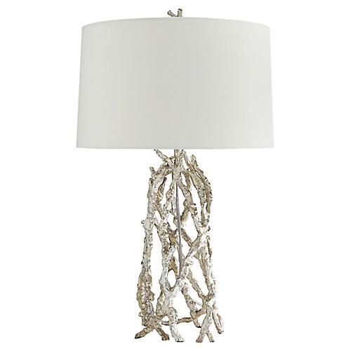 Burbank Table Lamp, Silver Leaf