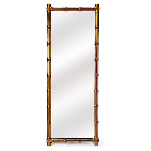 Trellis Rectangular Floor Mirror, Gold
