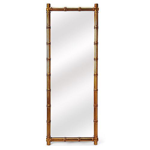 Trellis Rectangular Floor Mirror, Gold
