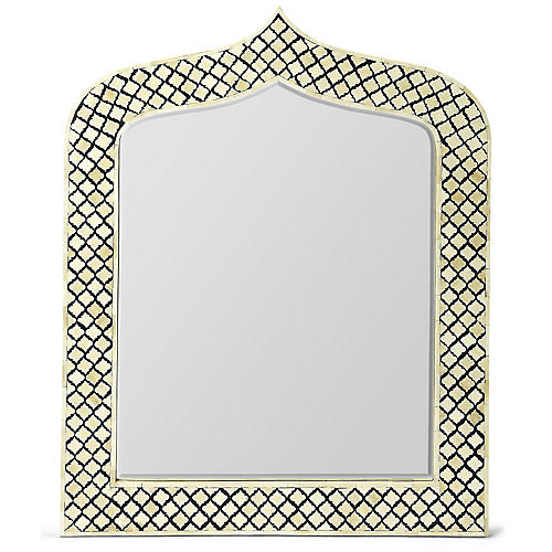 Lynngate Bone-Inlay Wall Mirror, Black/Ivory