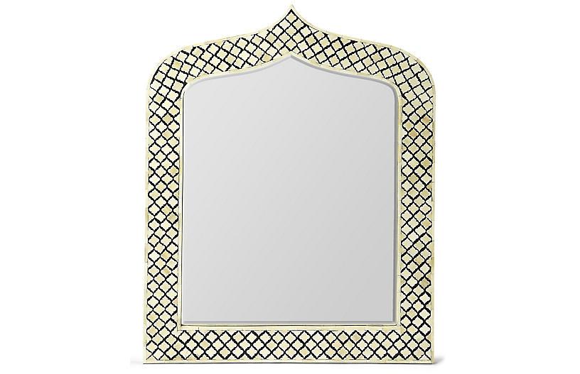 Lynngate Bone-Inlay Wall Mirror, Black/Ivory