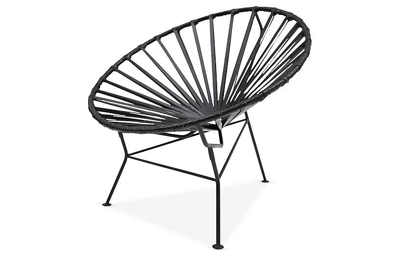 Sayulita Lounge Chair, Black Leather