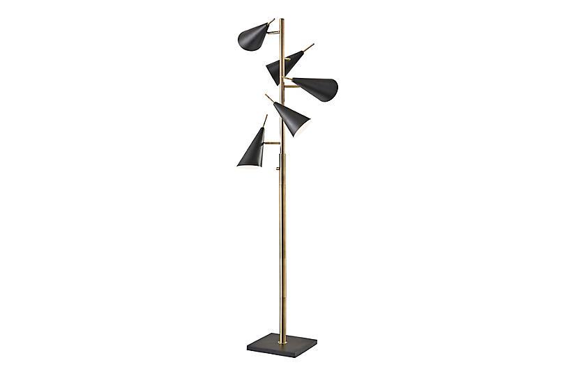Lucas Tree Floor Lamp, Black/Brass