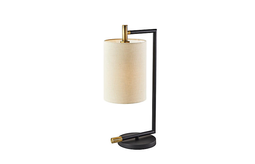 Rowan Table Lamp, Black/Antique Brass