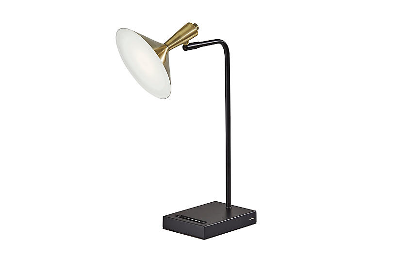 Reid LED Desk Lamp, Black/Brass