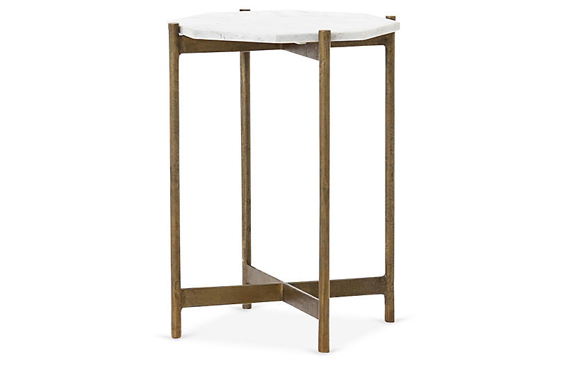 Adi Side Table, White Marble/Brass