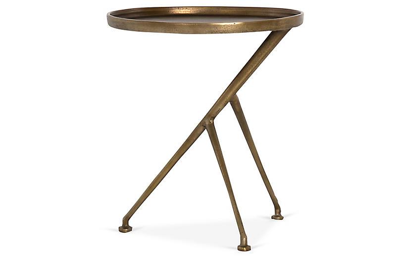 Amari Accent Table, Antique Brass