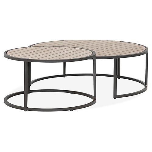 Asst. of 2 Alda Outdoor Nesting Tables, Brown