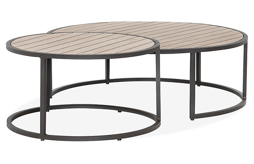 Asst. of 2 James Outdoor Nesting Tables, Brown