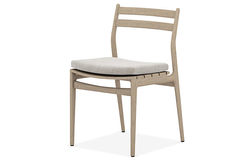 Leland Outdoor Dining Chair, Brown/Stone