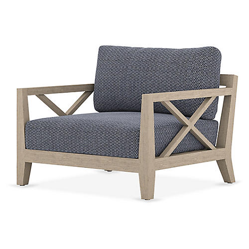 Huntington Outdoor Chair, Brown/Navy