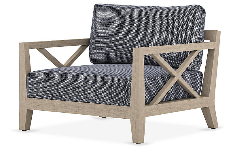 Tate Outdoor Chair, Brown/Navy