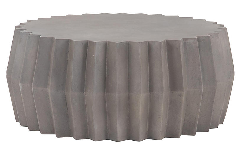 Gina Outdoor Concrete Coffee Table, Dark Gray