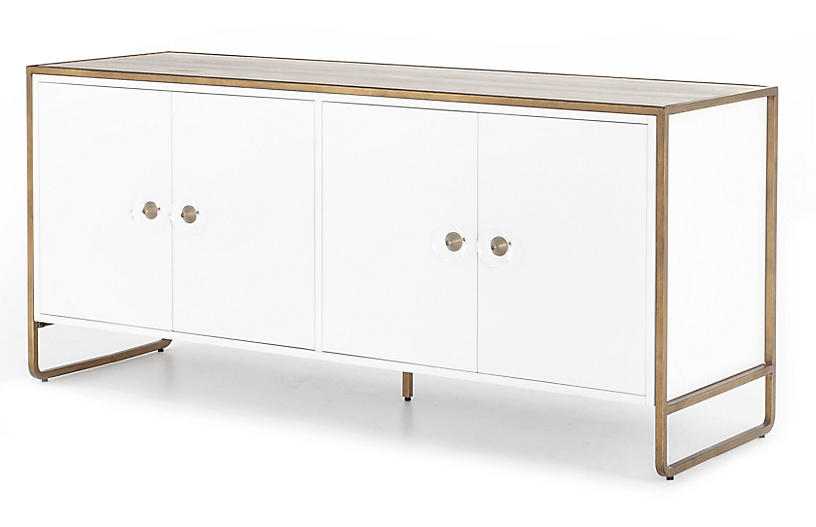 Tracey Boyd Christopher Sideboard, White/Antique Brass