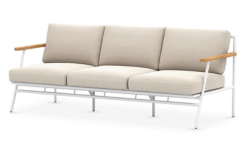 Andi Outdoor Sofa, White/Faye Sand