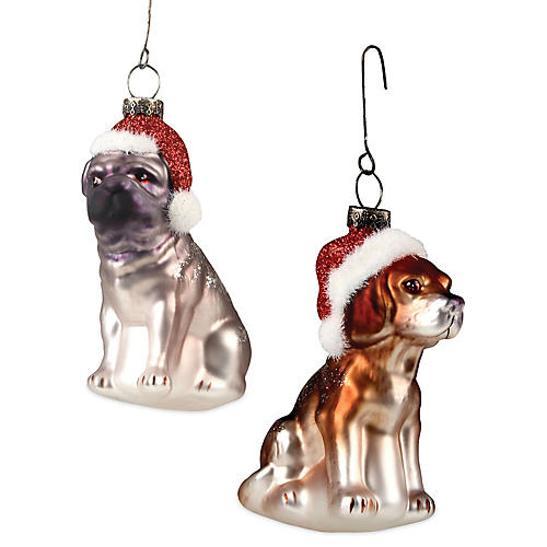 S/2 Christmas Dogs Ornament, Silver/Multi