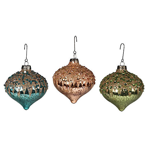 Asst. of 3 Glitter Teardrop Ornaments, Multi