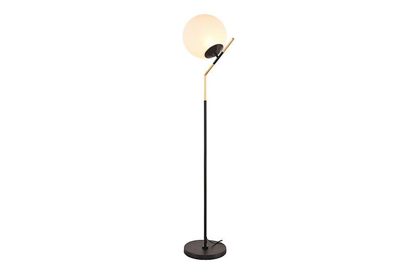 Mescudi Floor Lamp, Black/Brass