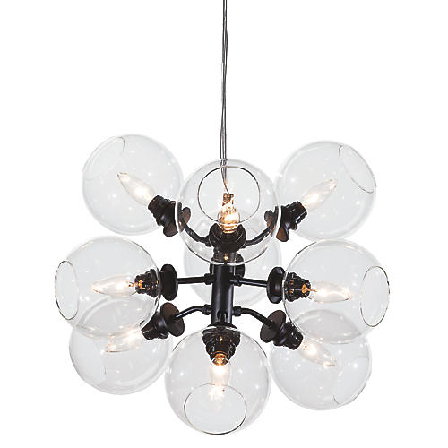 Bonilla 9-Light Chandelier, Black/Clear