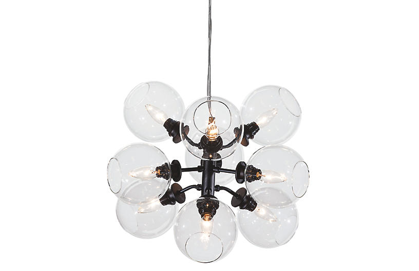 Bonilla 9-Light Chandelier - Black/Clear