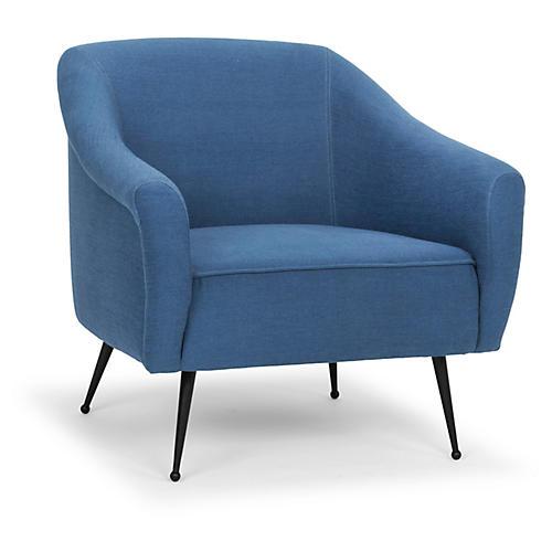 Lucie Accent Chair, Aegean Blue