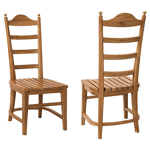 S/2 Tuscan Teak Side Chairs, Natural