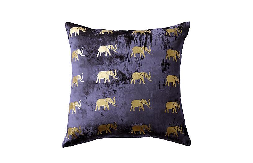 Meru 22x22 Pillow, Navy Velvet