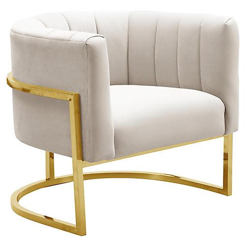 Tondela Accent Chair, Cream Velvet