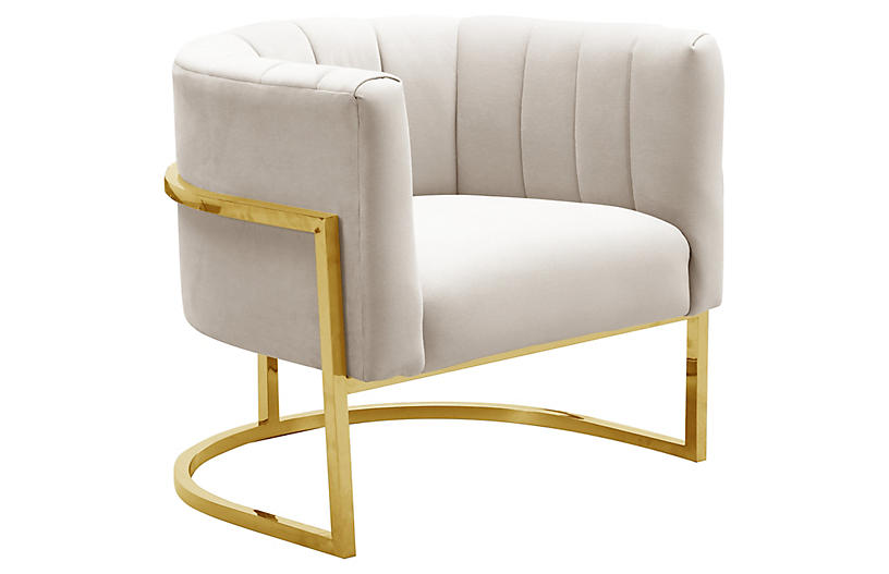 Tondela Accent Chair, Cream Velvet