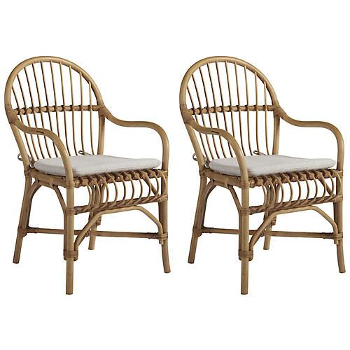 S/2 Newburyport Armchairs, Natural