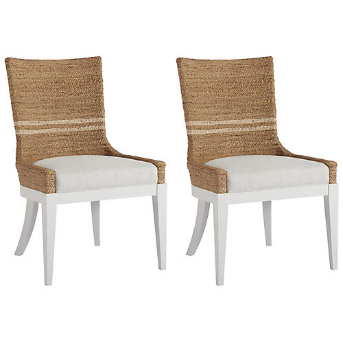 S/2 Delray Side Chairs, Natural/White