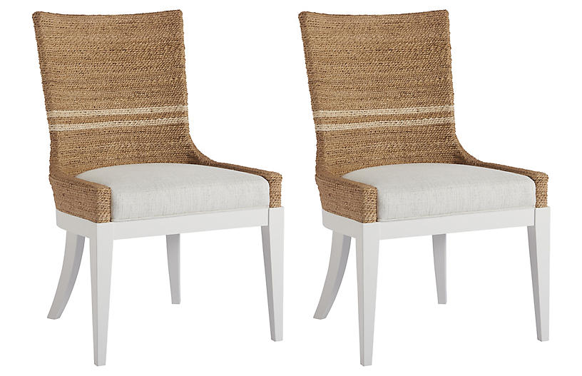 Coastal Living S/2 Delray Side Chairs, Natural/White
