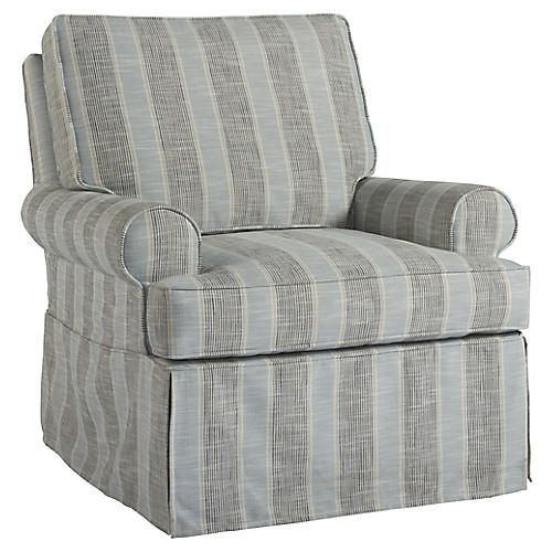 Warwick Swivel Club Chair, Blue/Gray