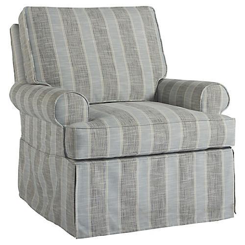 Warwick Swivel Club Chair, Blue/Gray