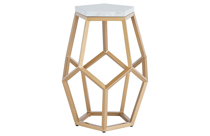 Opaline Martini Table, Soft Gold Metal
