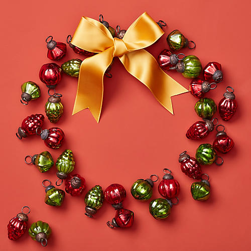 Asst. of 36 Embossed Mercury Ornaments, Red/Green