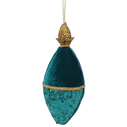 Oblong Ornament, Teal