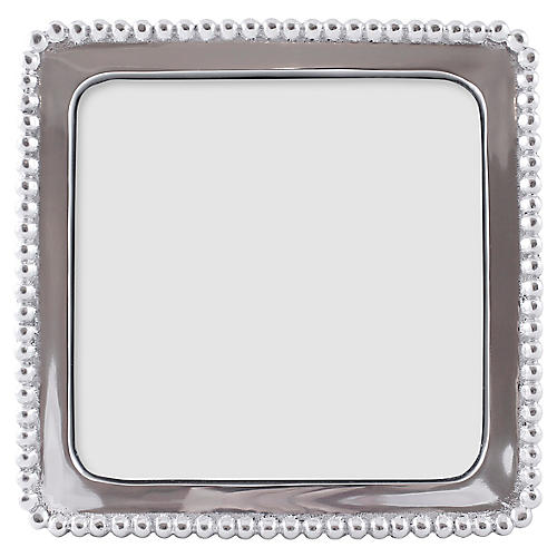 Beaded Square Frame, Silver