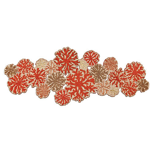 Coral Table Runner, Beige/Coral