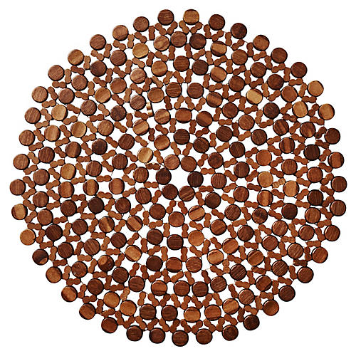 S/4 Round Place Mats, Brown
