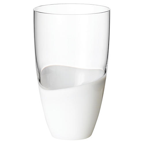 S/4 Vague Highball Glasses, Clear/White