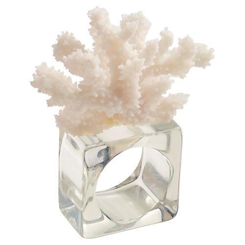 S/4 Reef Napkin Rings, White