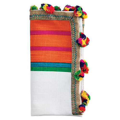 S/4 Jaipur Dinner Napkins, White/Multi