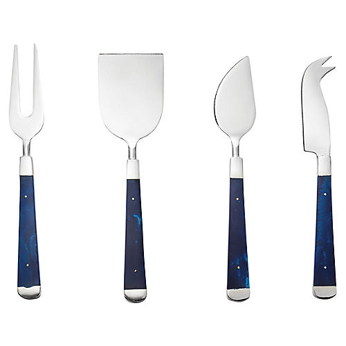 4-Pc Lapis Cheese Knives, Blue