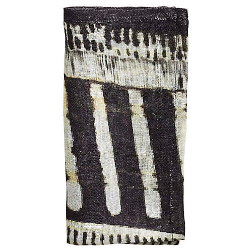 S/4 Bazaar Dinner Napkins, Ivory/Black