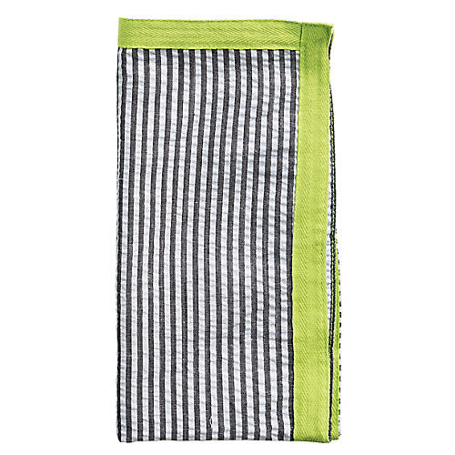 S/4 Ribbon Dinner Napkins, Black/Green