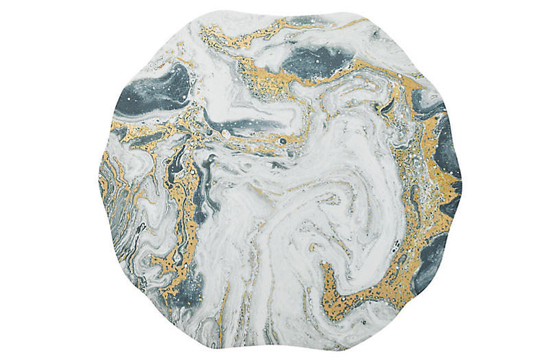 S/4 Cosmos Place Mats, Ivory/Gold/Silver
