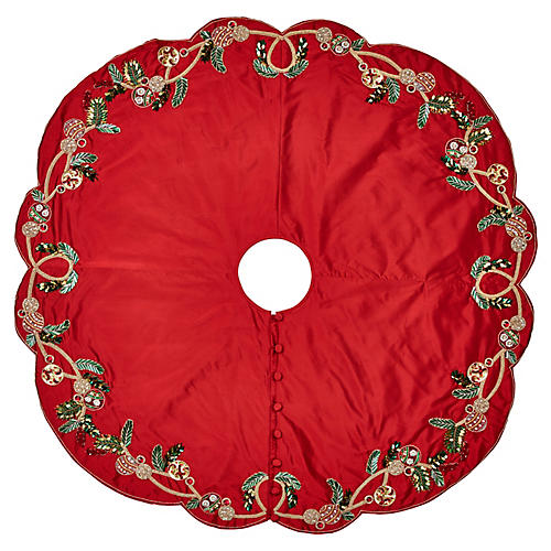 "64"" Mistletoe Tree Skirt, Red/Green"