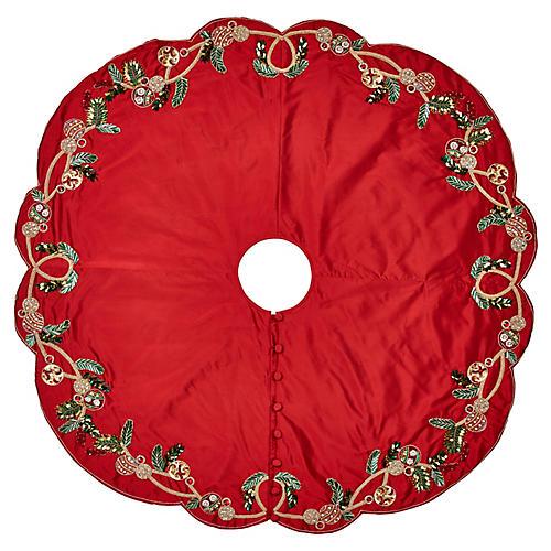 """64"""" Mistletoe Tree Skirt, Red/Green"""